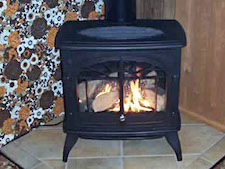 Old fashioned iron fireplace