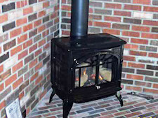 cast iron free-standing fire place
